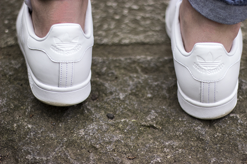 All White Adidas Stan Smiths