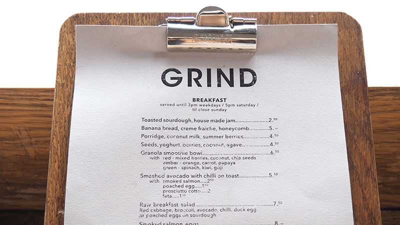 Shoreditch Grind Menu