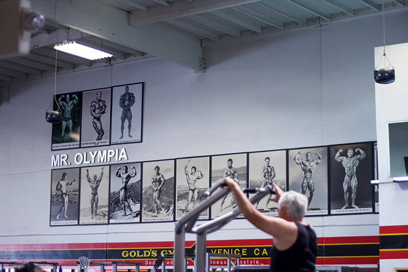 Mr Olympia wall, Golds Gym, Venice Beach, California