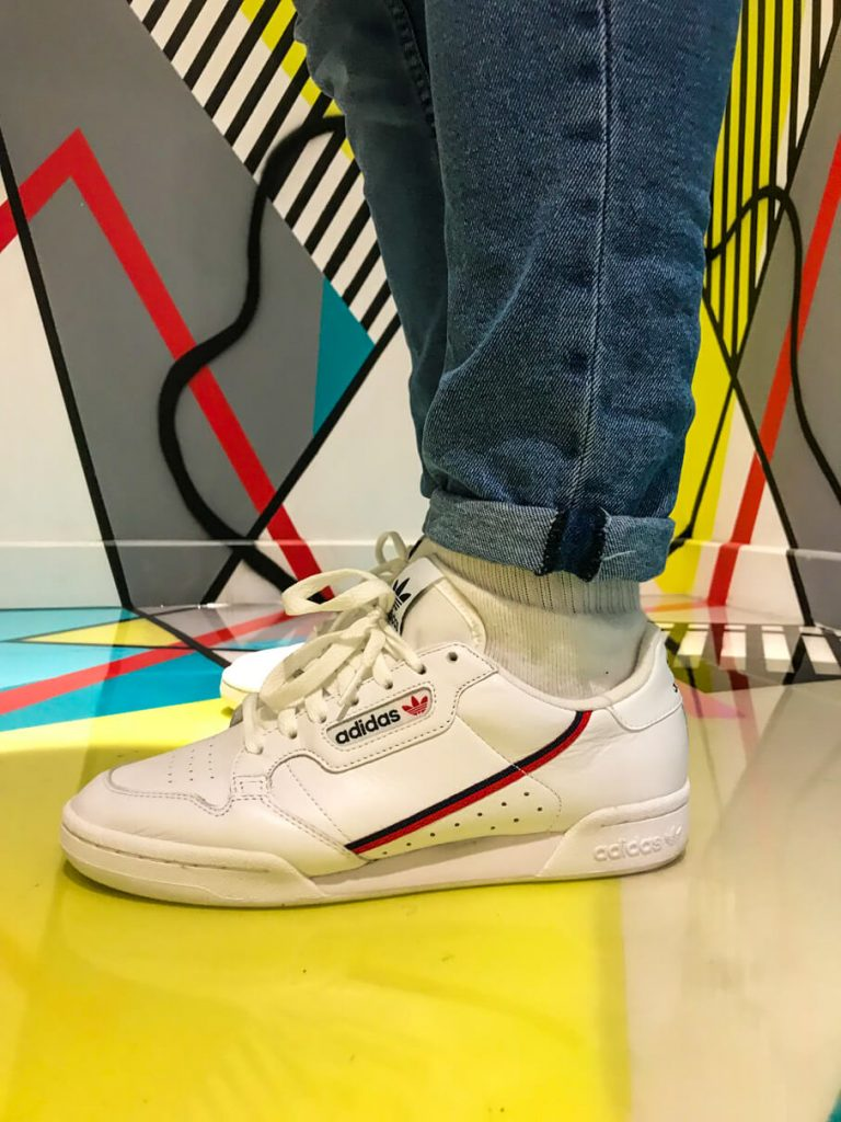 Adidas Continental 80 trainers on-feet